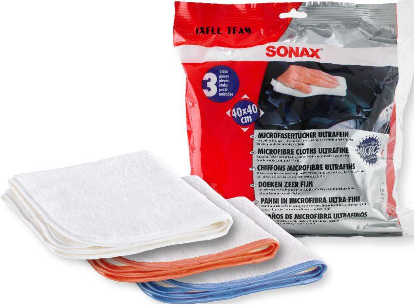 SONAX MIKROFIBRA 3 szt. 40x40cm grube 450 gram 619