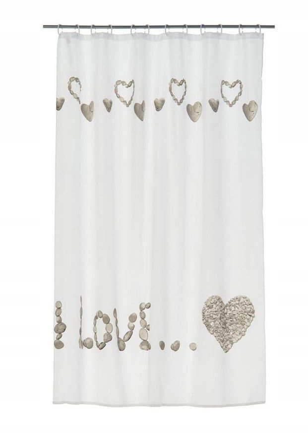 Zasłona prysznicowa AMOUR 180 200 cm biała wzór po
