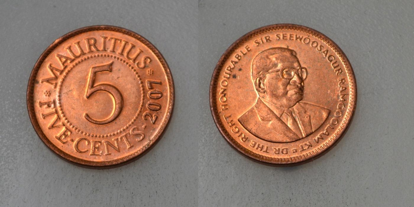 Mauritius 5 Cents 2007 rok BCM