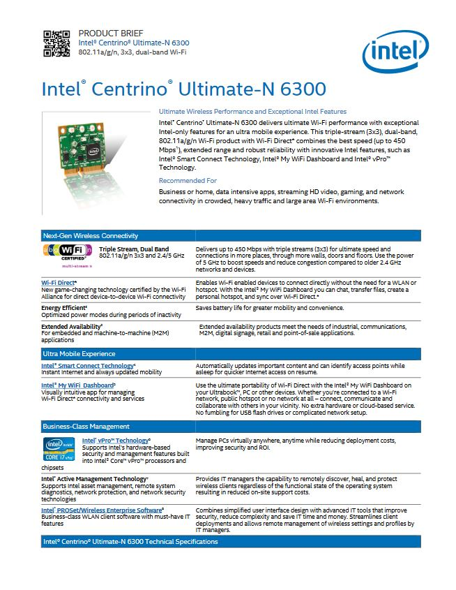 WLAN INTEL Centrino Ultimate-N 6300 450-Mbps DELL
