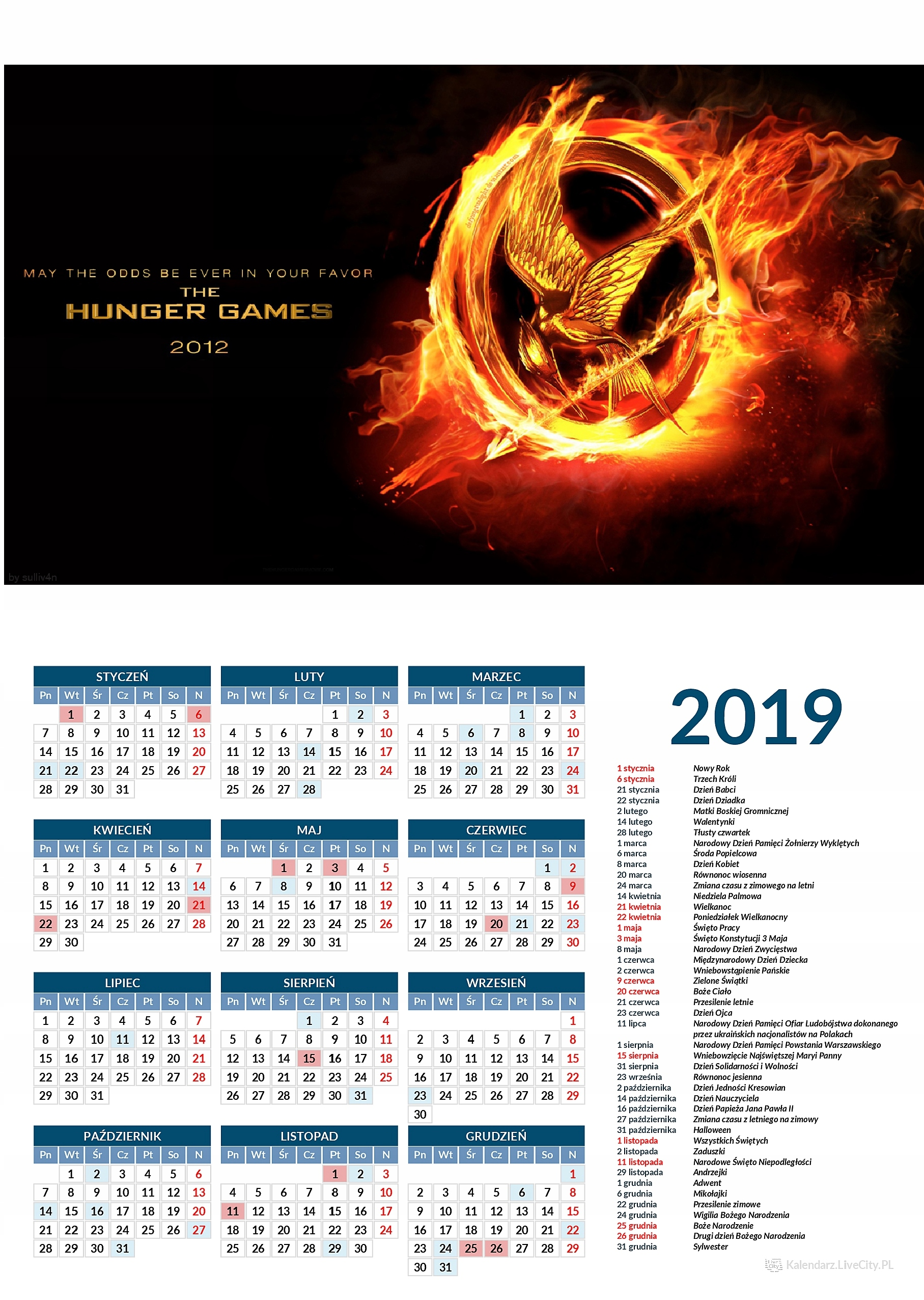 Kalendarz 2019 HUNGER GAMES