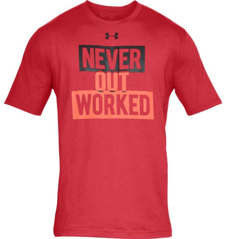 Under Armour Never Out Worked SS Black Red # S