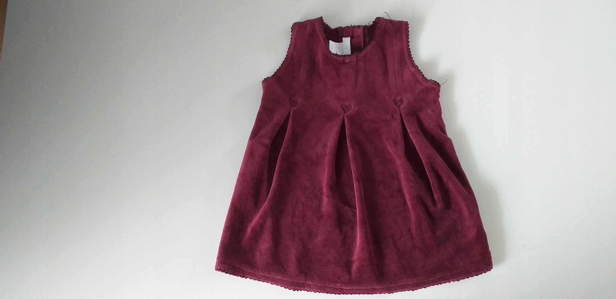 Sukienka welurkowa stan bdb rozmiar 68