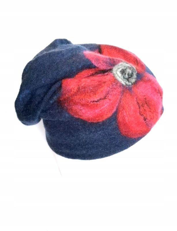 czapka wełniana filcowana granatowa zimowa hand