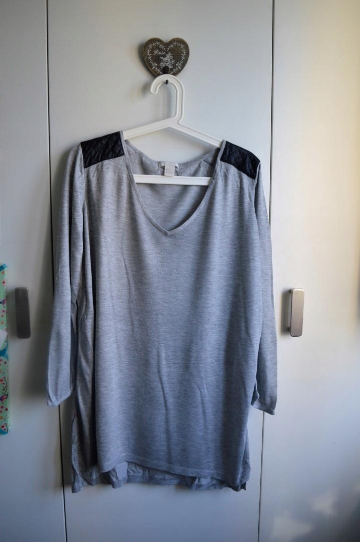 H&M sweterek tunika L szara skórka