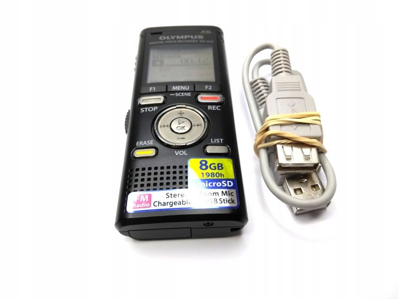 DYKTAFON STEREO OLYMPUS WS-833 +KABEL USB