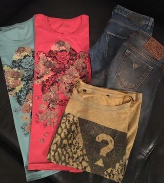 Paka Guess jeans 38 t-shirt M stan bardzo dobry