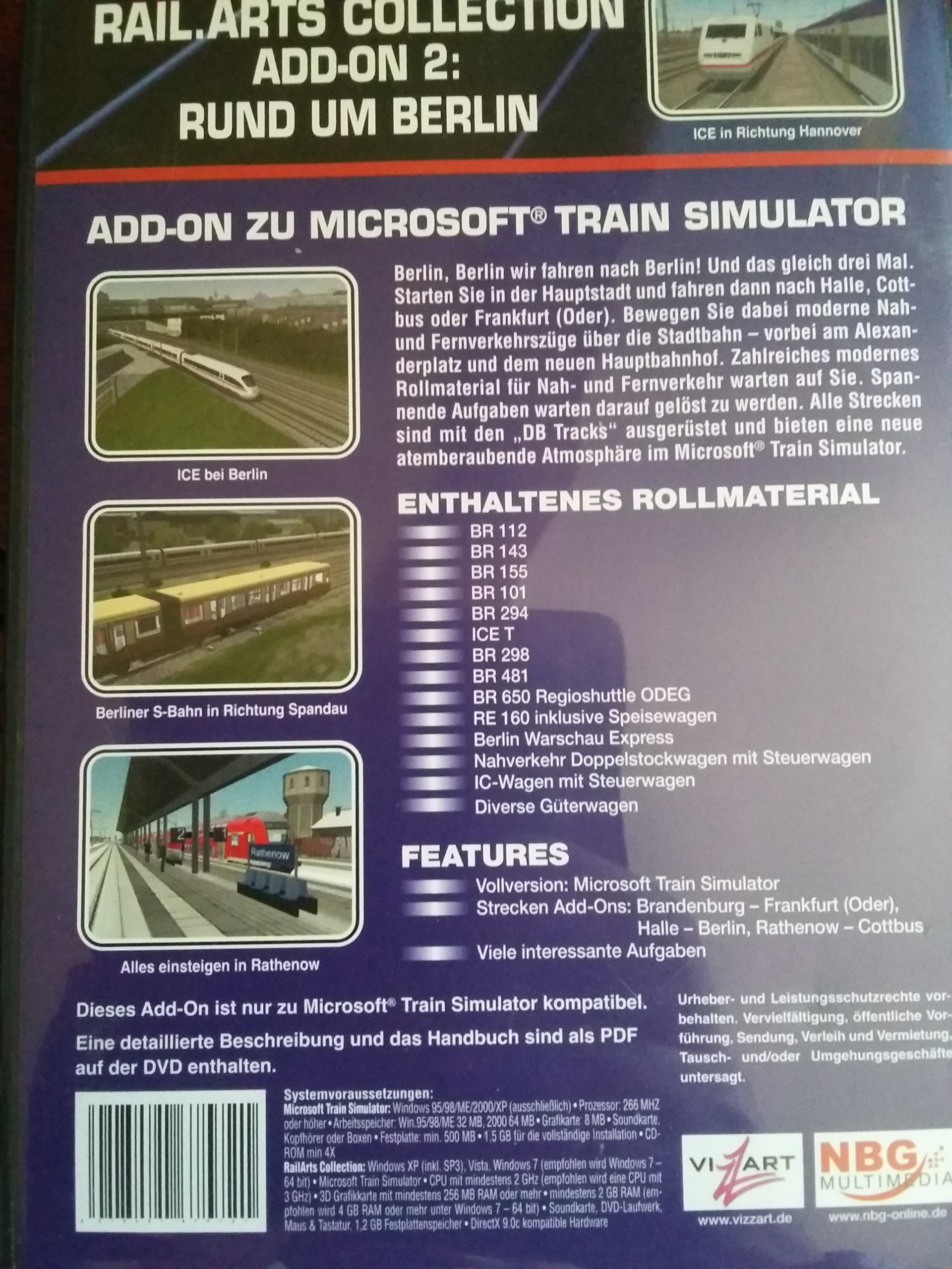 PC DVD-ROM RUND UM BERLIN PLUS MS TRAIN SIMULATOR!
