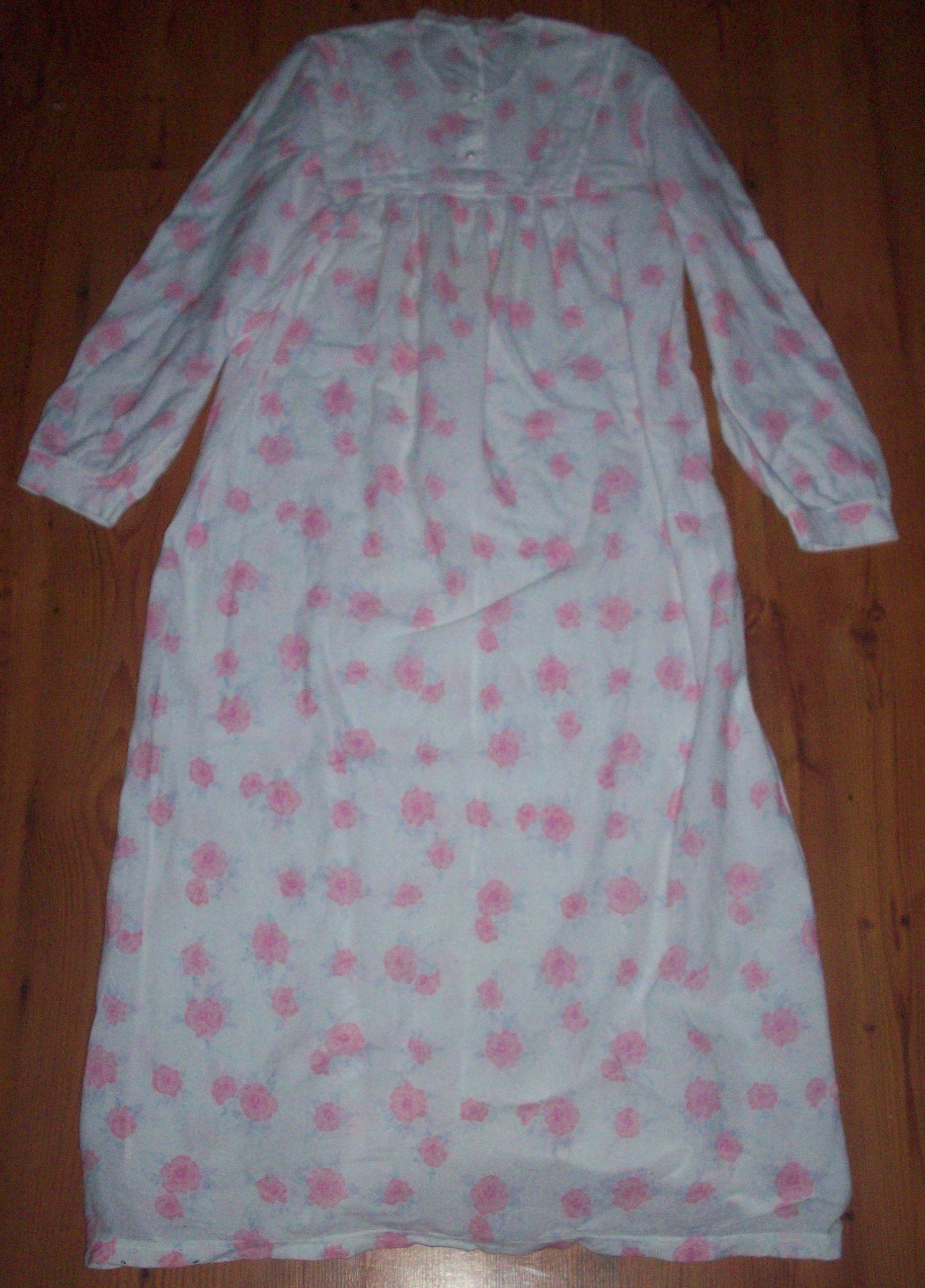 Koszula nocna 38 M/ 40 L biała niebieska róż