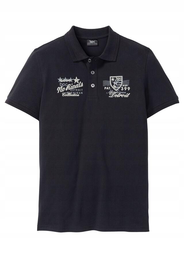 Shirt polo z nadrukiem czarny 48/50 (M) 977364