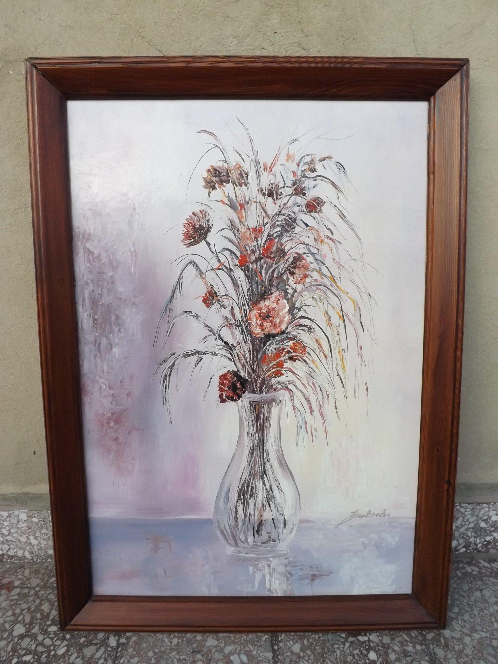 Ręcznie Malowany Obraz Akrylowy Wazon Z Kwiatami 7302346838