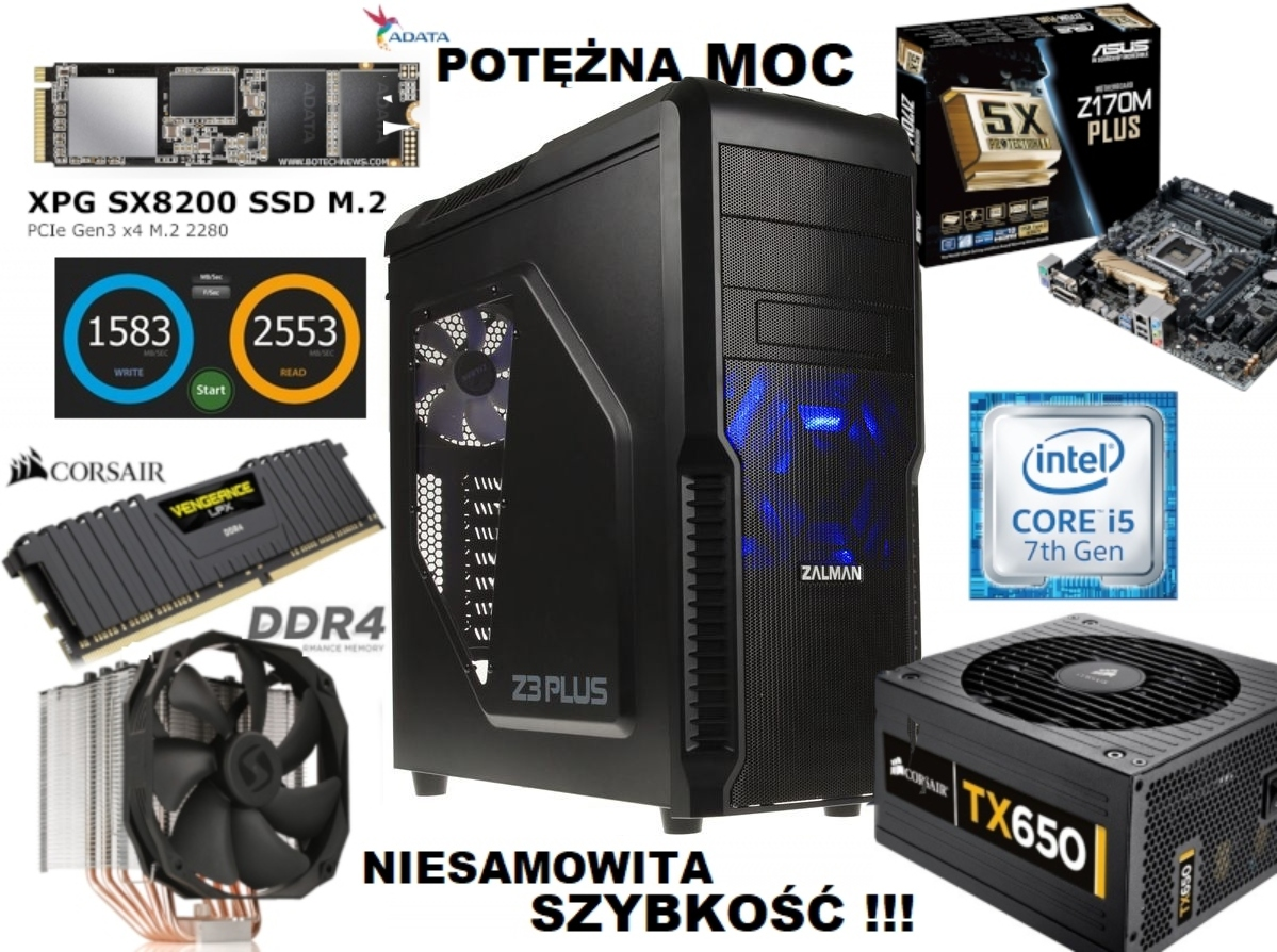 Komputer i5 7-gen/ 32GB/ 1TB M.2 3000MB/s *POTĘŻNY