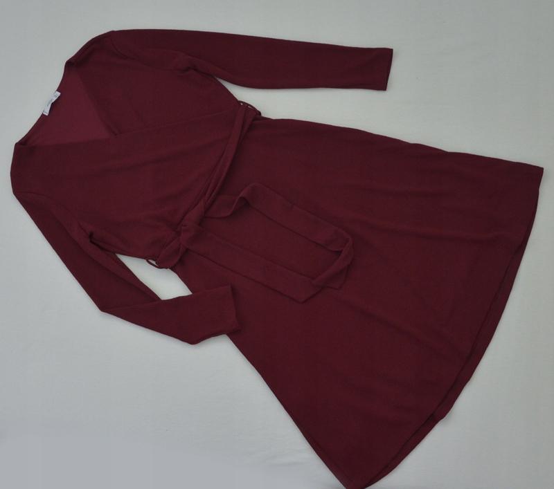 Sukienka bordowa elegancka kopertowa MANG0 40/42