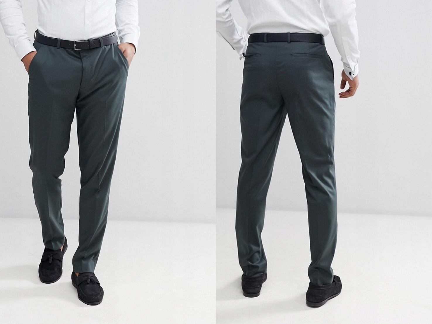 Zielone spodnie garniturowe W31 L30