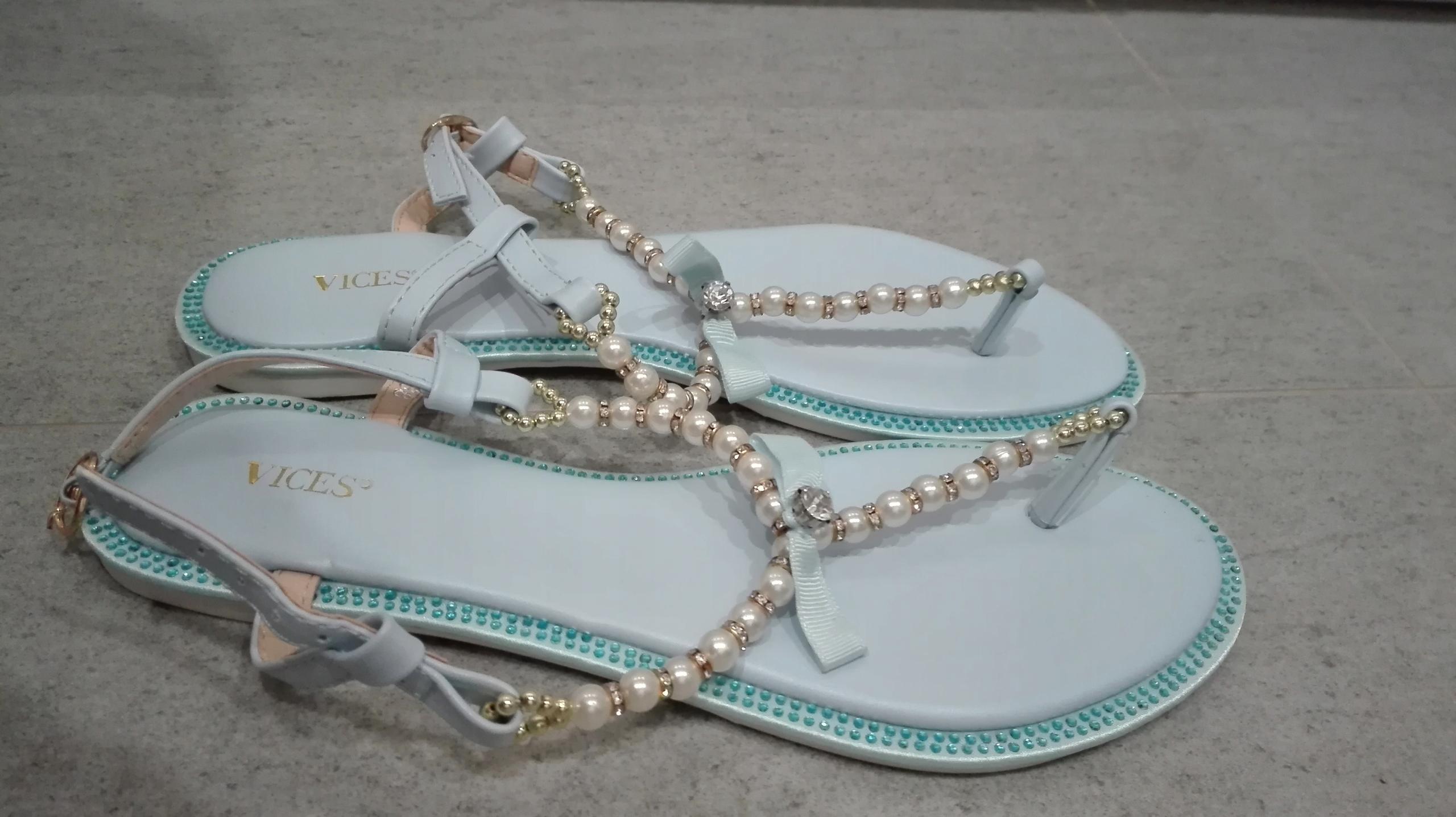 Sandały z perełkami 38 japonki błękitne