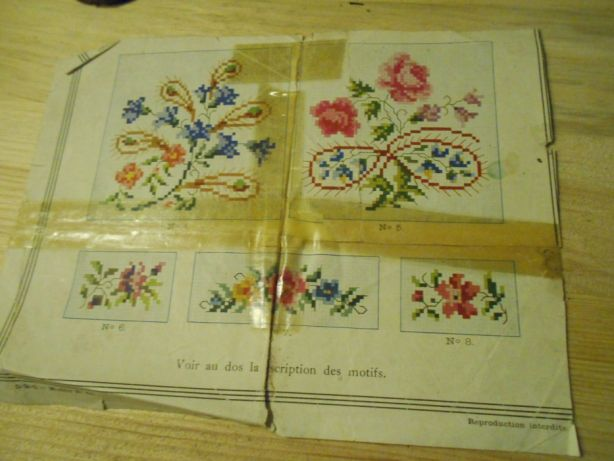 HAFT krzyżykowy unikalna stara francuska kolekcja