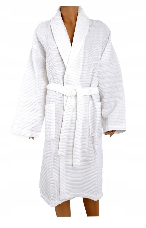 Szlafrok płaszcz kąpielowy Gofrowany M Greno biały