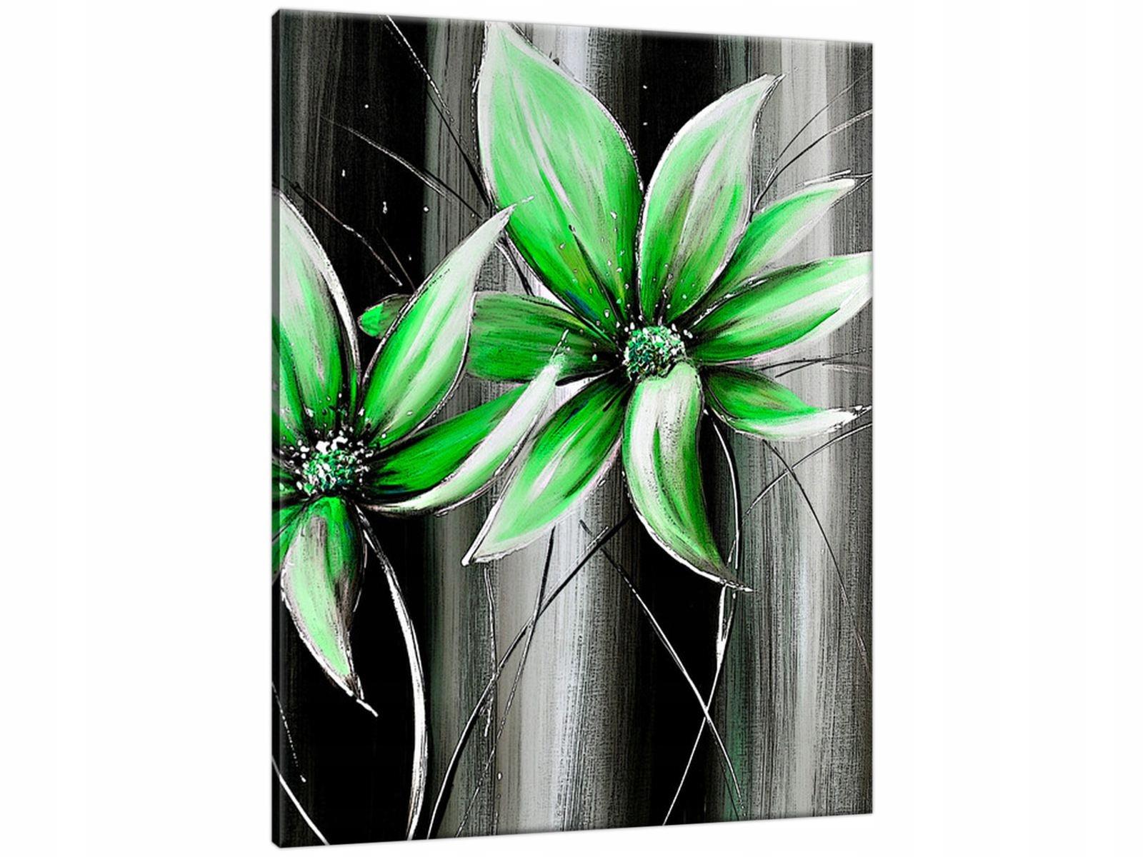 Obraz na Płótnie 40x50 Kwiaty na zielono