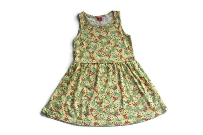 a945 Bawełna elastyczna sukienka żółta kwiatki 122
