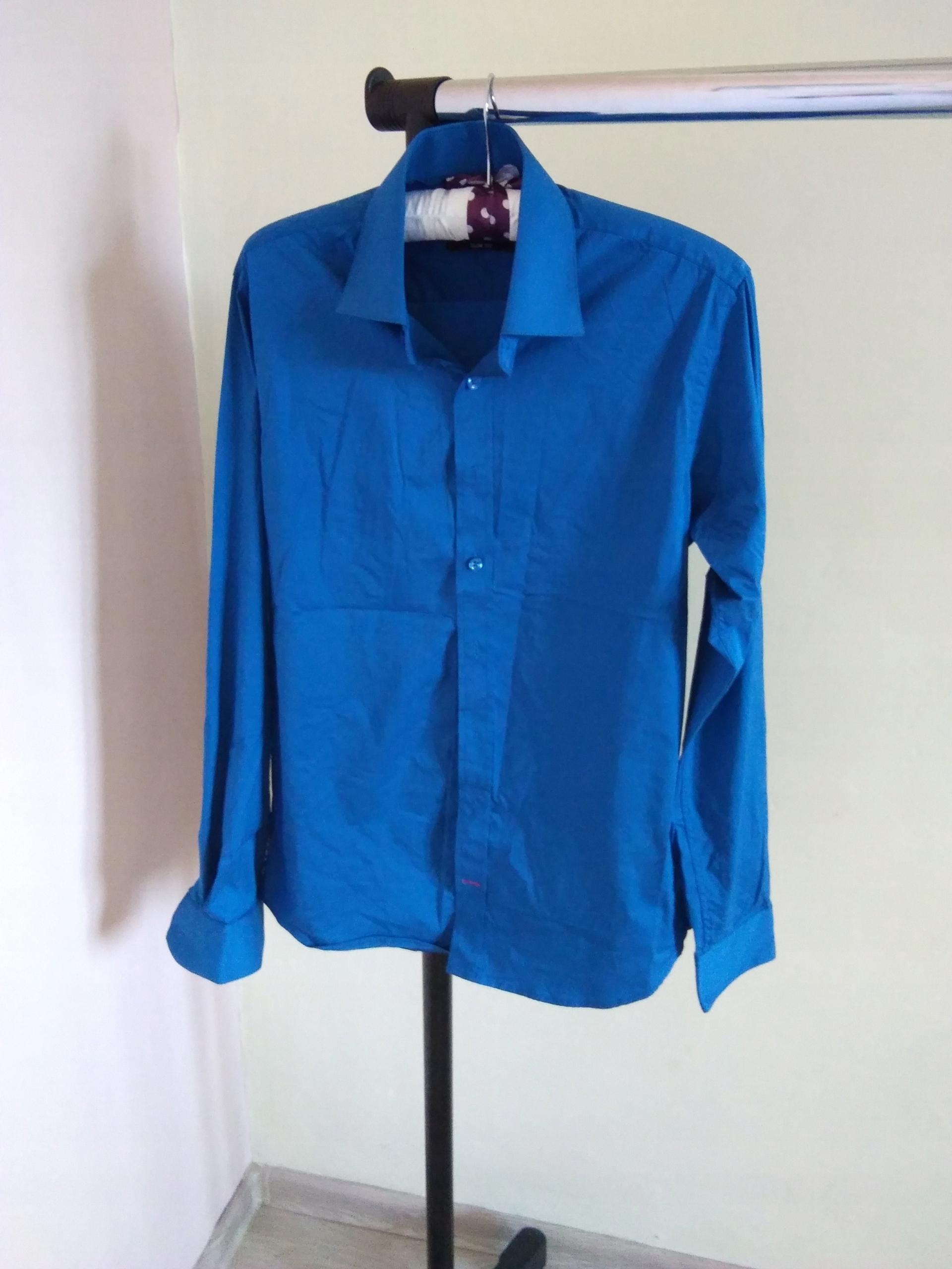 Super Koszula męska niebieska slim rozm s