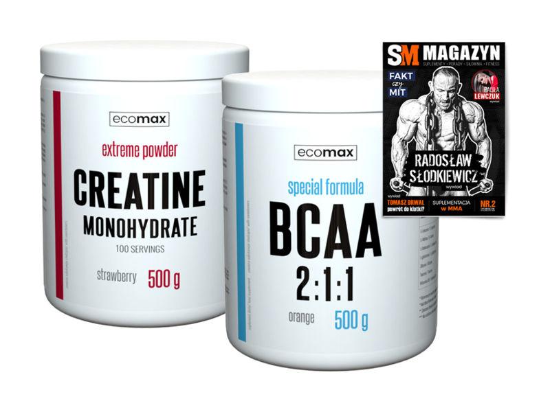 ECOMAX CREATINE 500 g KREATYNA + 500 g BCAA AMINO