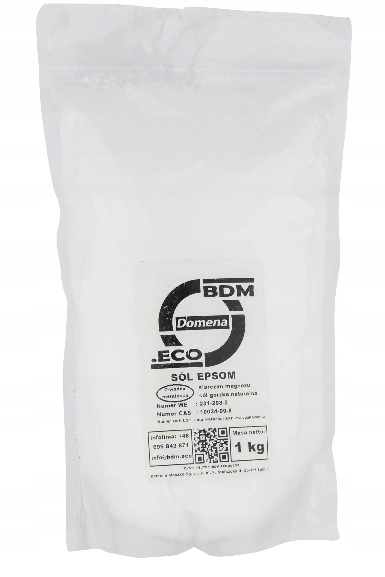 Sól Epsom Gorzka siarczan magnezu bdm 1kg eco 100%
