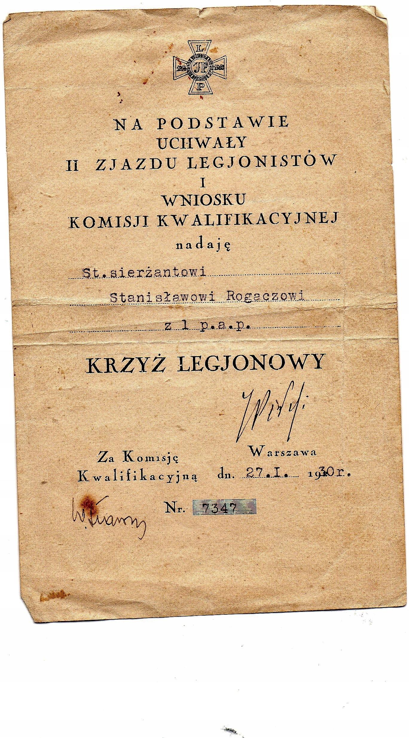 Dyplom nadania Krzyz Legionowy