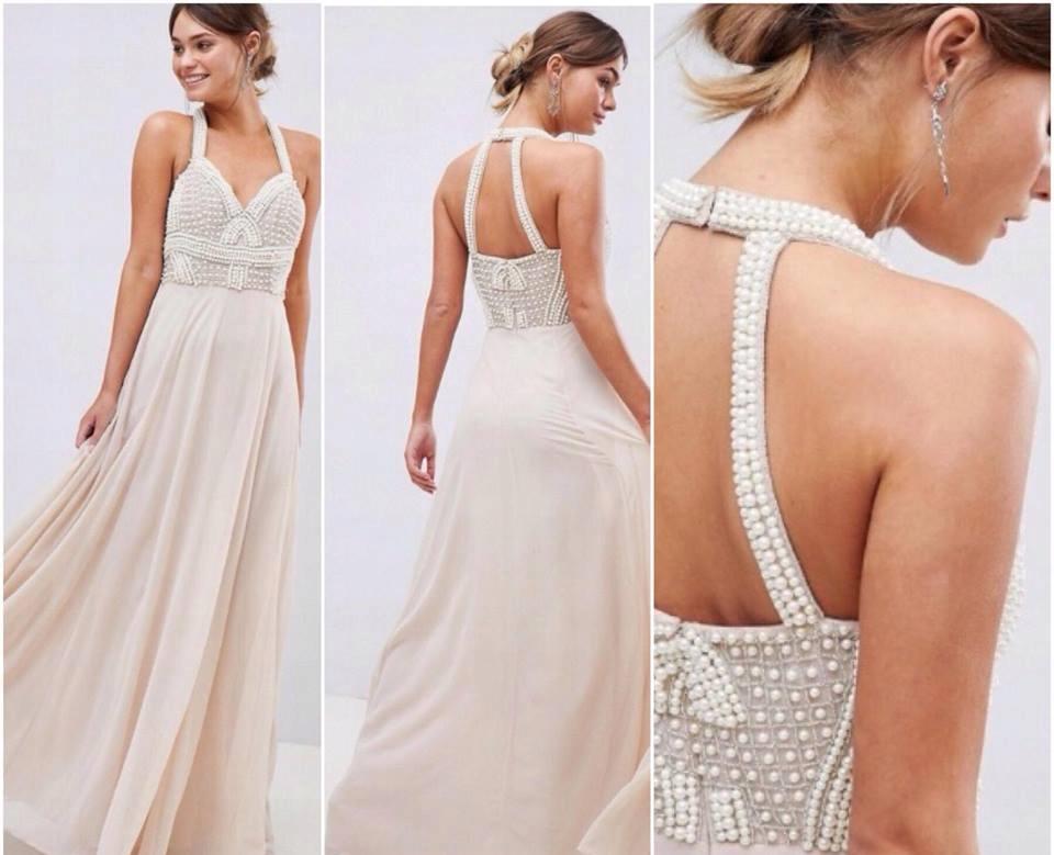 AS0S ecru róż maxi sukienka zdobiona preły 40 L