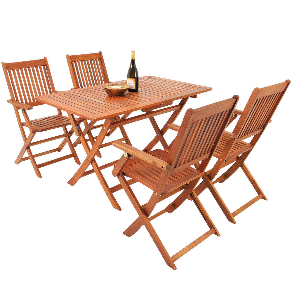 Meble Ogrodowe Drewniane Składane Stół 4 Krzesła