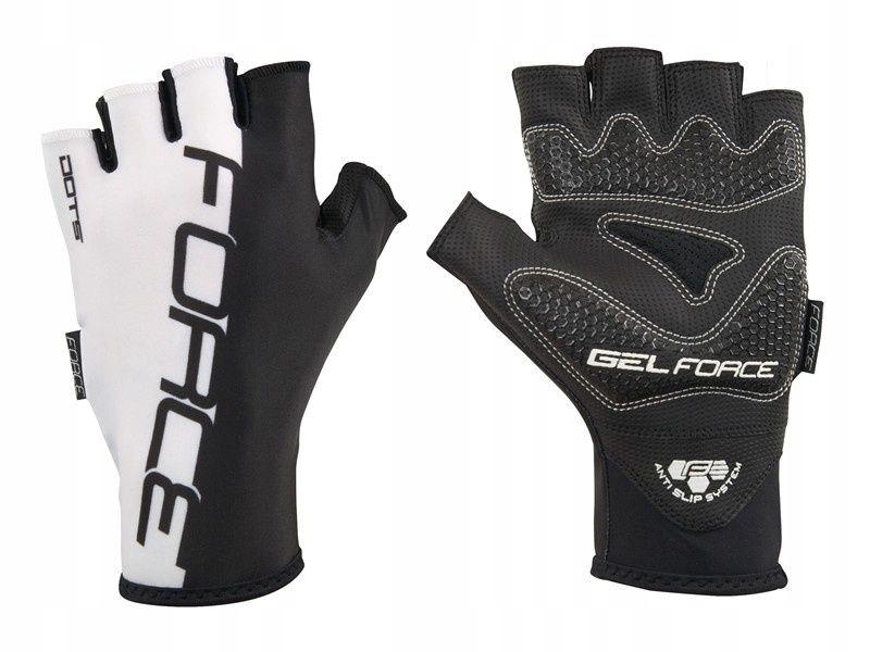 FORCE DOTS rękawiczki rowerowe białe r.M
