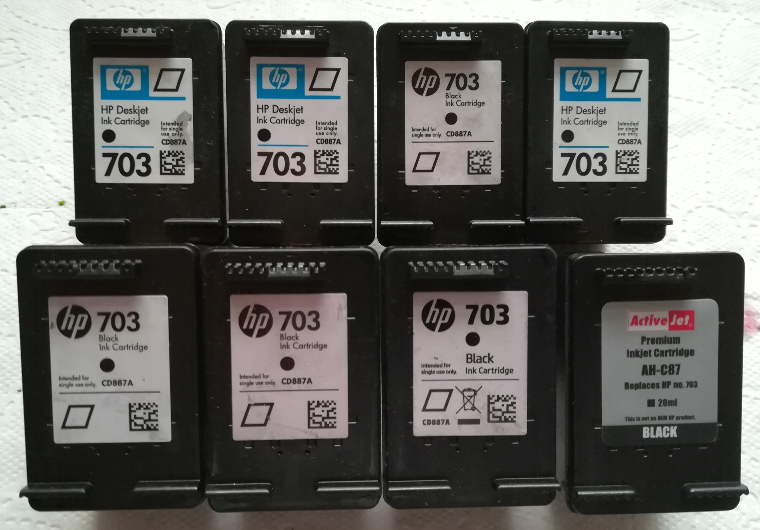 Puste tusze HP 703 OEM + zamienniki 16 sztuk