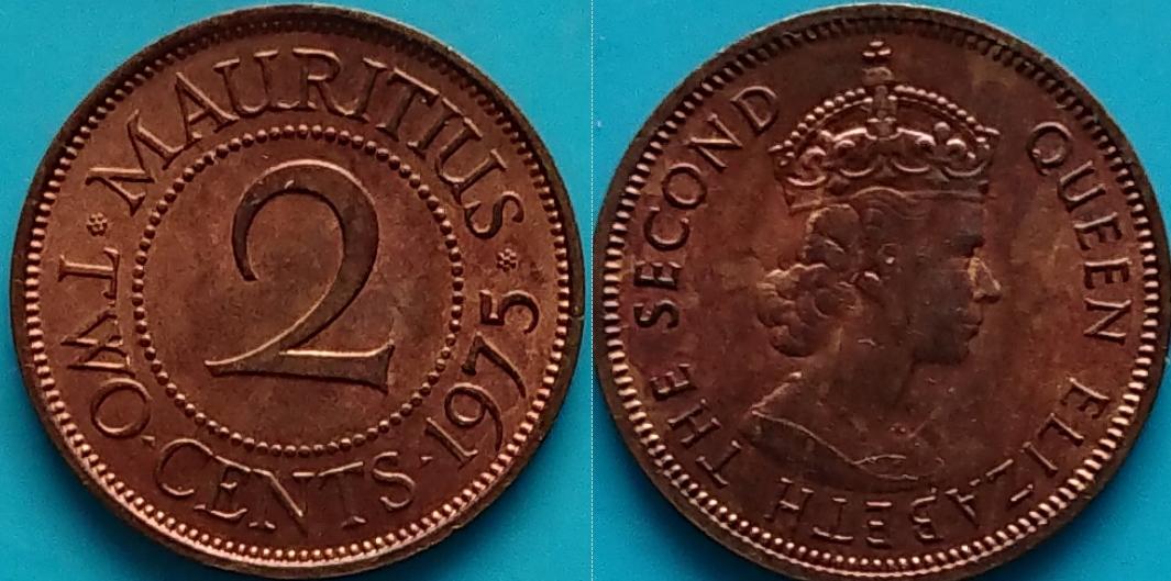 Mauritius 2 centy 1975r. KM 32 piękny stan