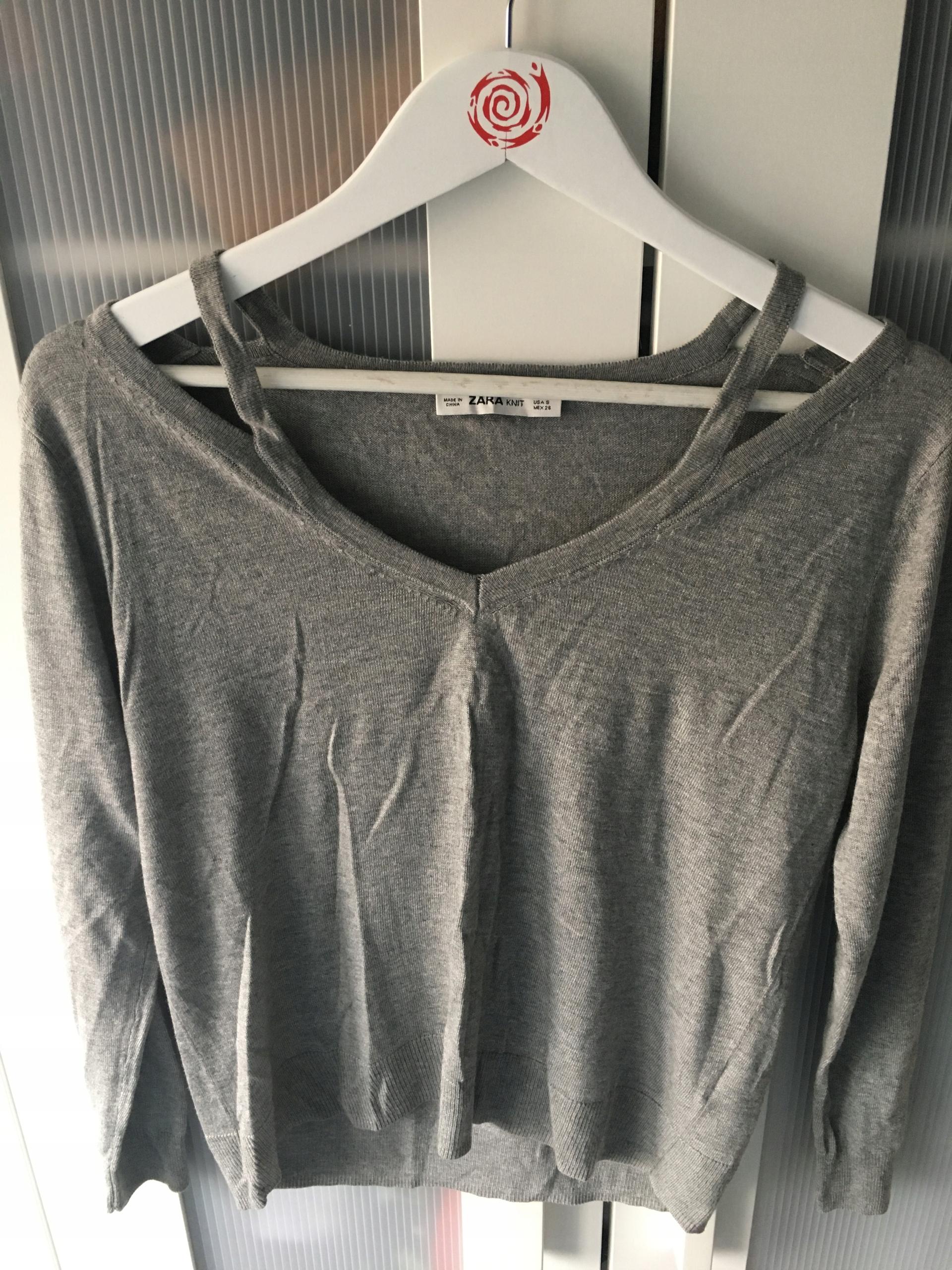 ZARA sweter szary odkryte ramiona S/36 NOWY