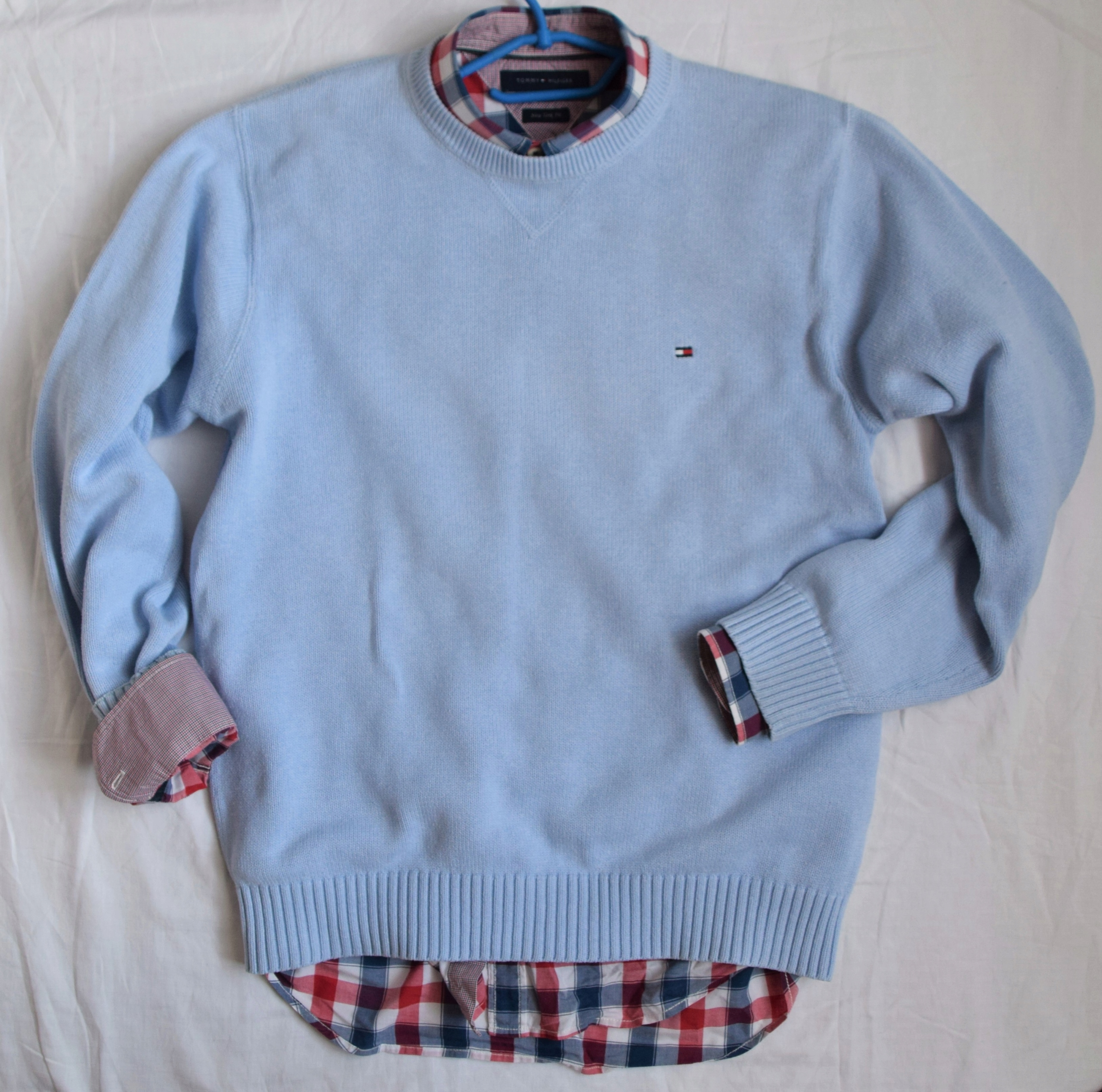 Tommy Hilfiger sweterek błękit 100% bawełna M