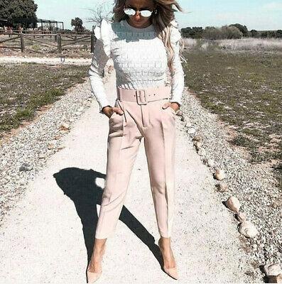Zara 34 xs spodnie kant zaszewki blog insta pasek