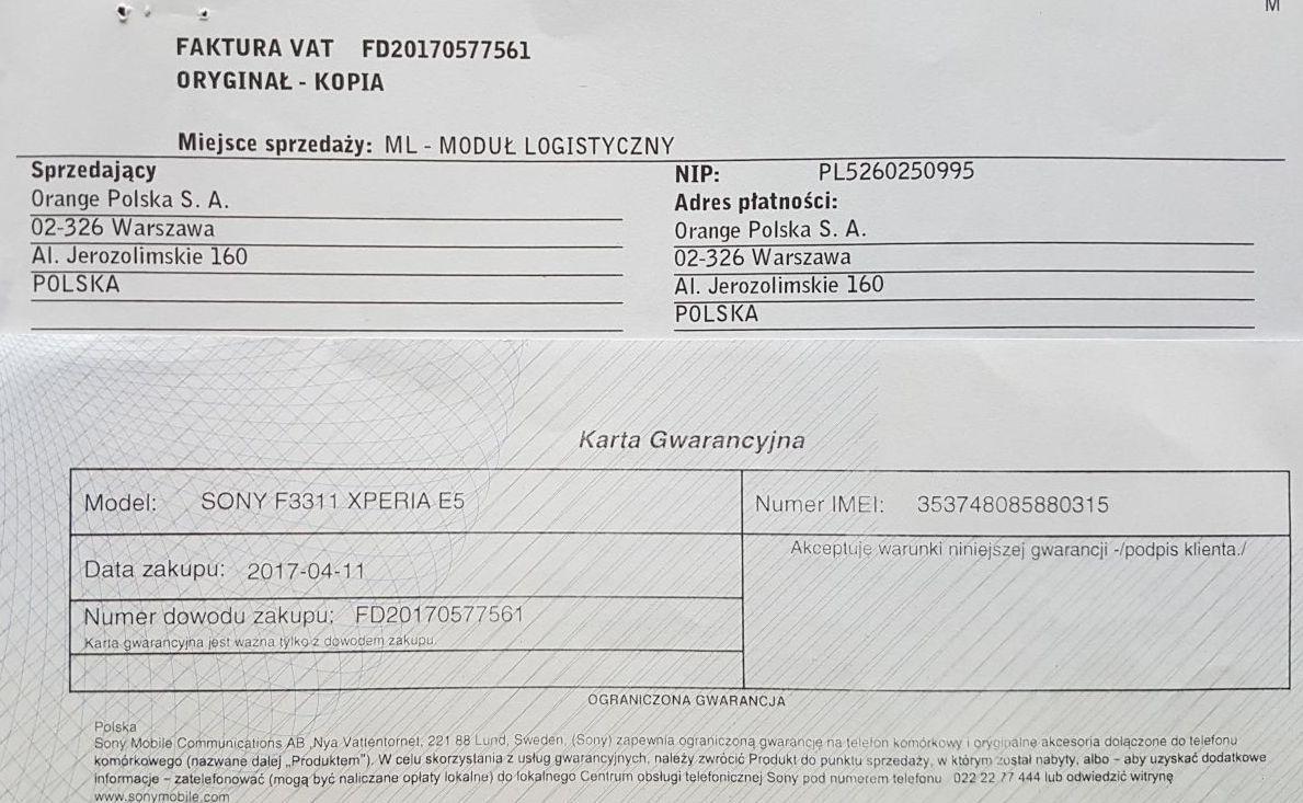 Sony Xperia E5 F3311 Gwarancja 7228672474 Oficjalne Archiwum