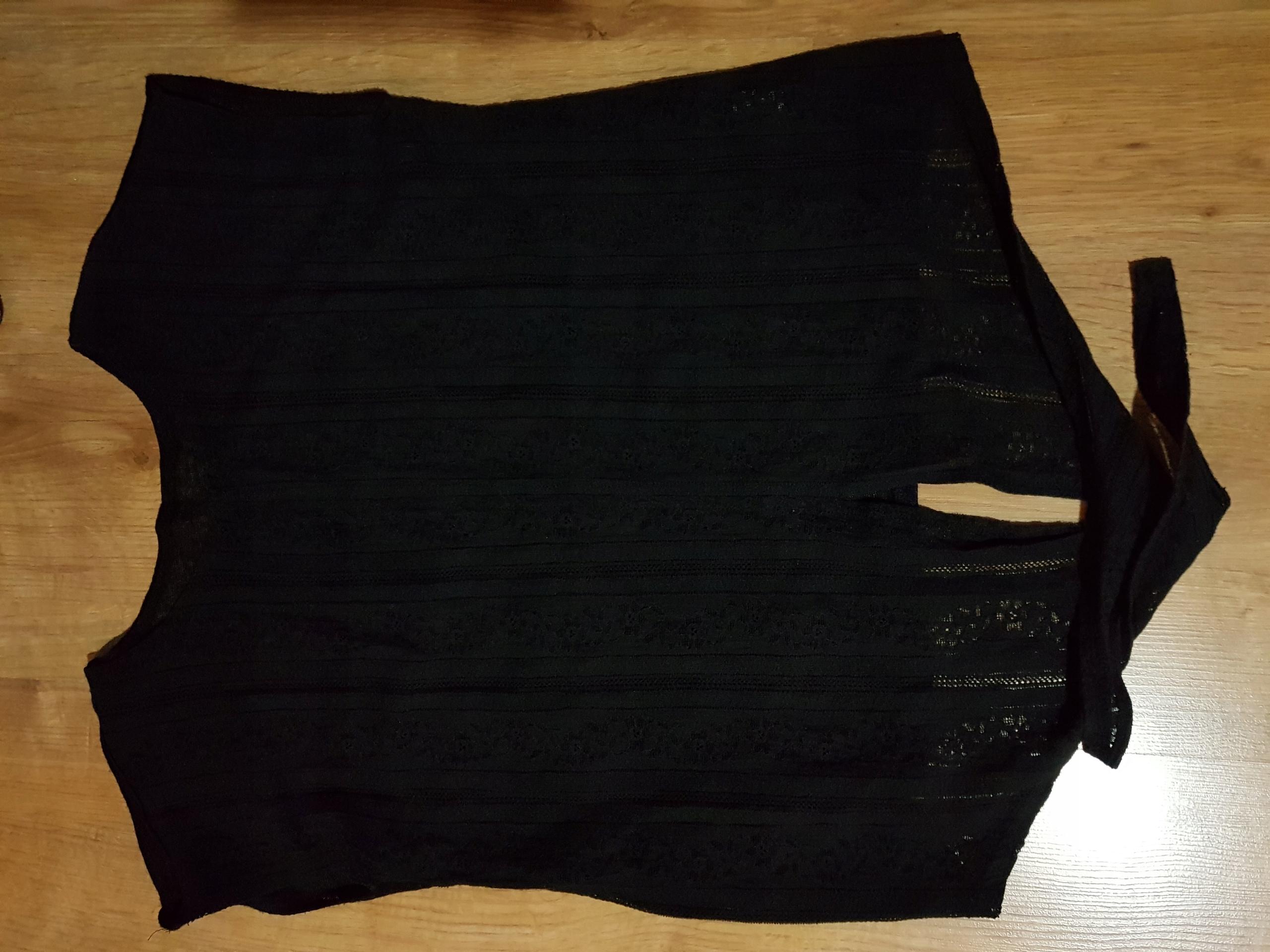Czarna bluzka z wiązaniem Sinsay M