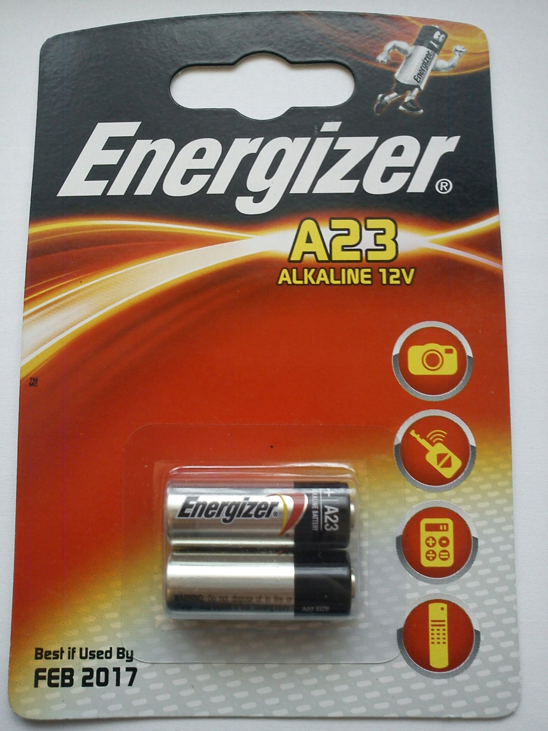 2 x alkaliczna bateria Energizer A23 12V