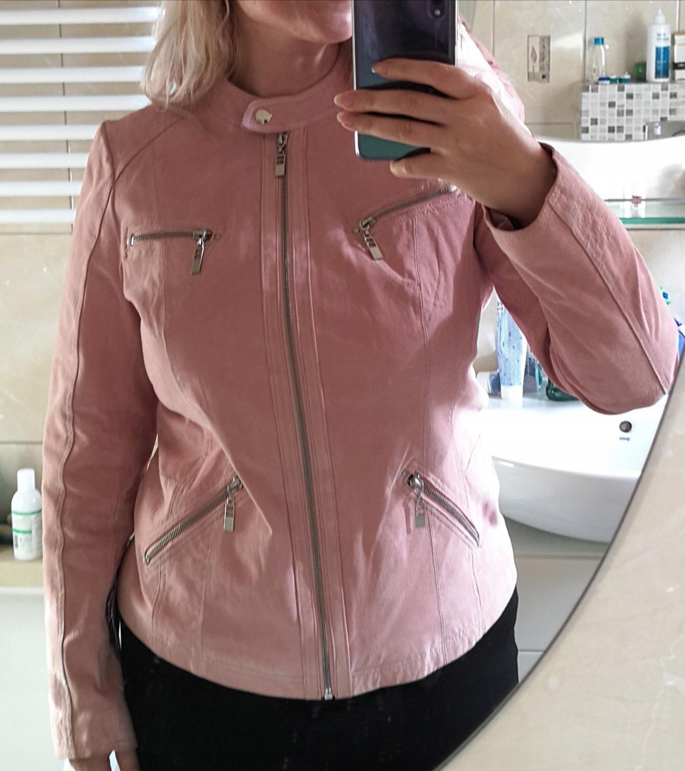 Skórzana różowa ramoneska kurtka skóra naturalna