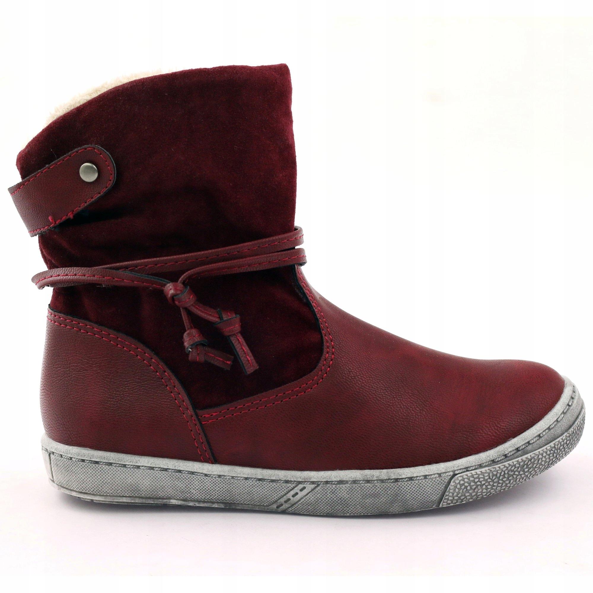 Kozaki buty zimowe bordowe American 16183 r.27