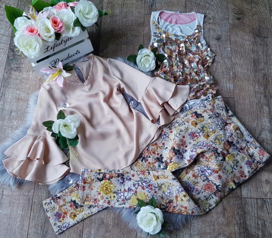 Piękny Komplet Zara spodnie kwiaty 140 Hiszpanka
