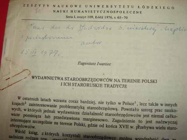 IWANIEC E.: Wydawnictwa staroobrzędowców w Polsce.