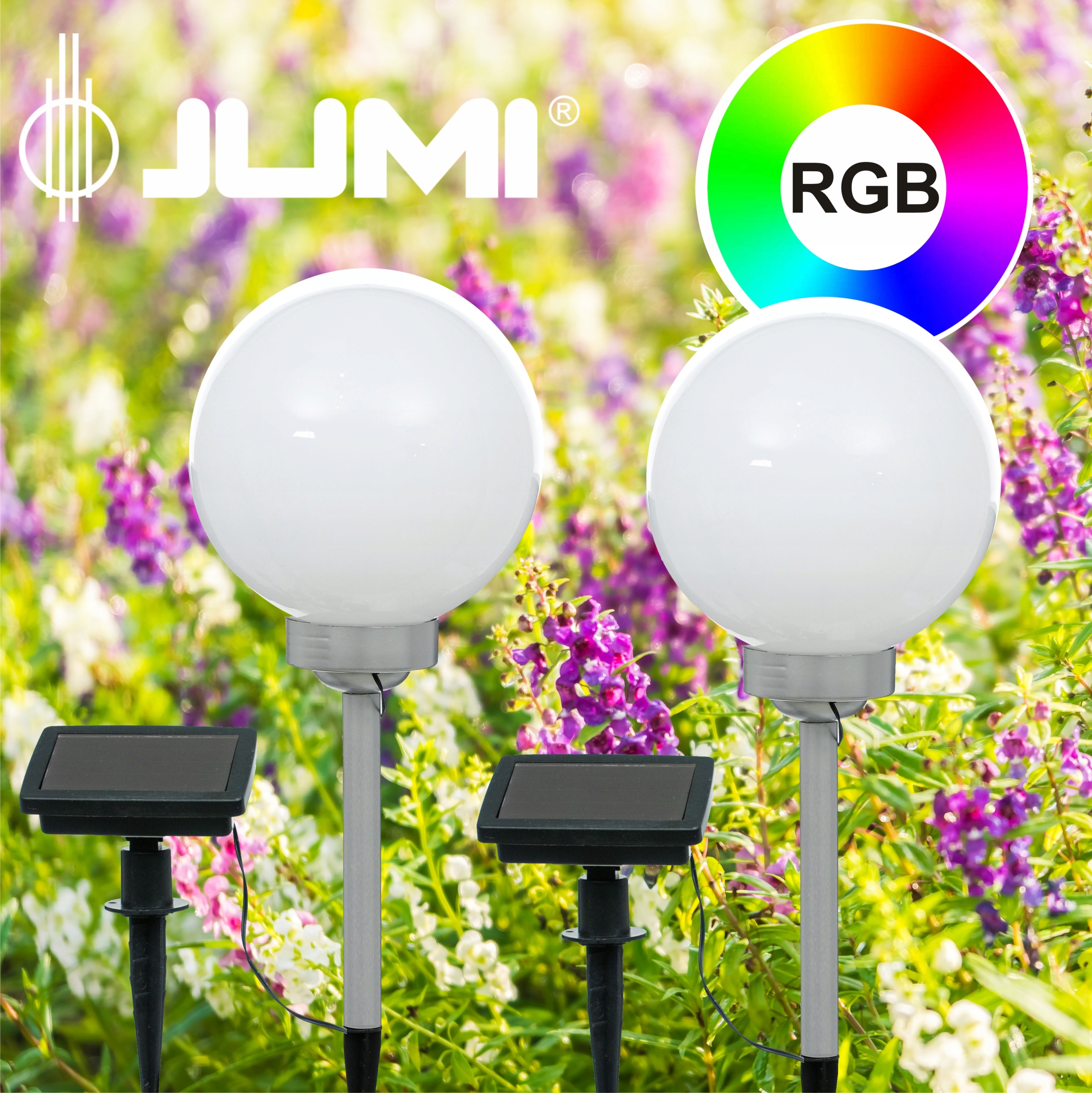 2 Szt Lampa Solarna Kula Rgb Lampy Solarne Komplet