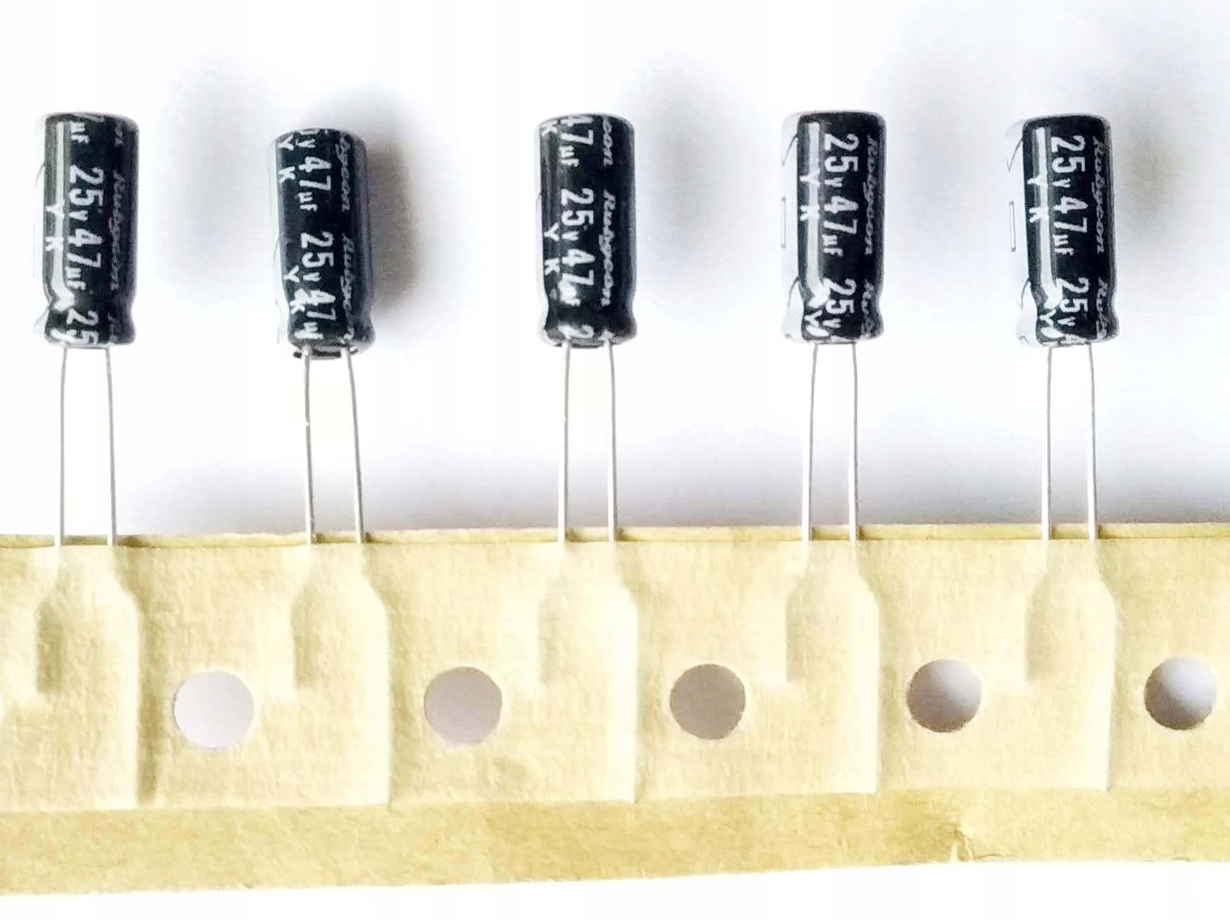 Kondensator 47uF 25V 85C 5x5x11 Rubycon - 50 szt.