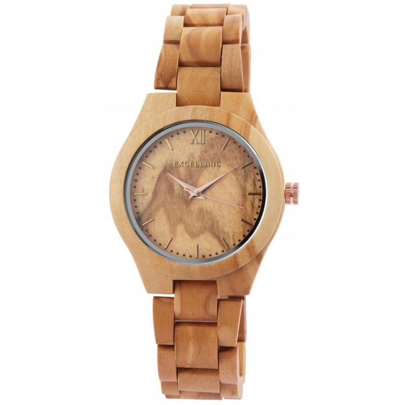 Excellanc 1800157 Zegarek Damski Drewniany Brązowy