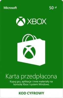 KARTA PRZEDPŁACONA XBOX ONE LIVE 50ZŁ PREPAID KOD