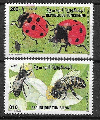Tunezja 1331-32 - owady biedronki pszczoły