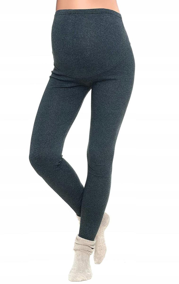 Komfortowe legginsy ciążowe zimowe grafitowe XL/42
