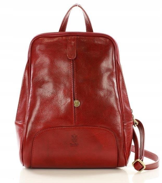 37b9088232a8b DARELLE Plecak skórzany włoski MAZZINI czerwona - 7555245496 ...