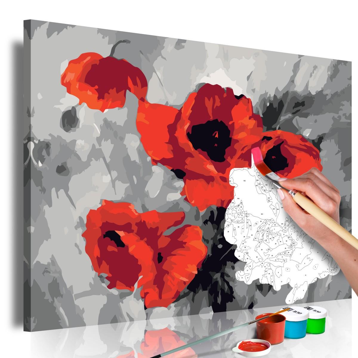 Obraz do samodzielnego malowania - Bukiet maków (R